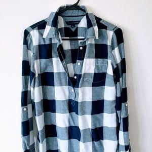 Tommy Hilfiger Woman Blue White Plaid Shirt M